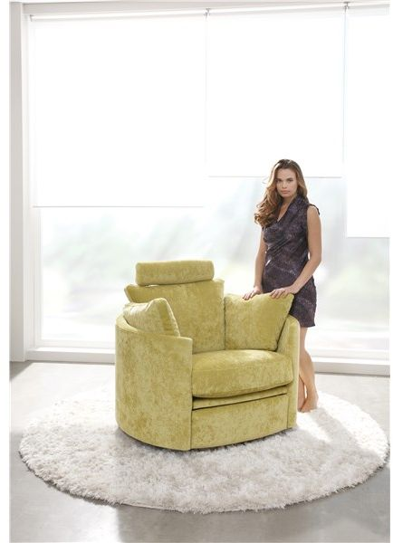 Charming Fama Moon Electric Swivel And Rocker Chair In Fabric