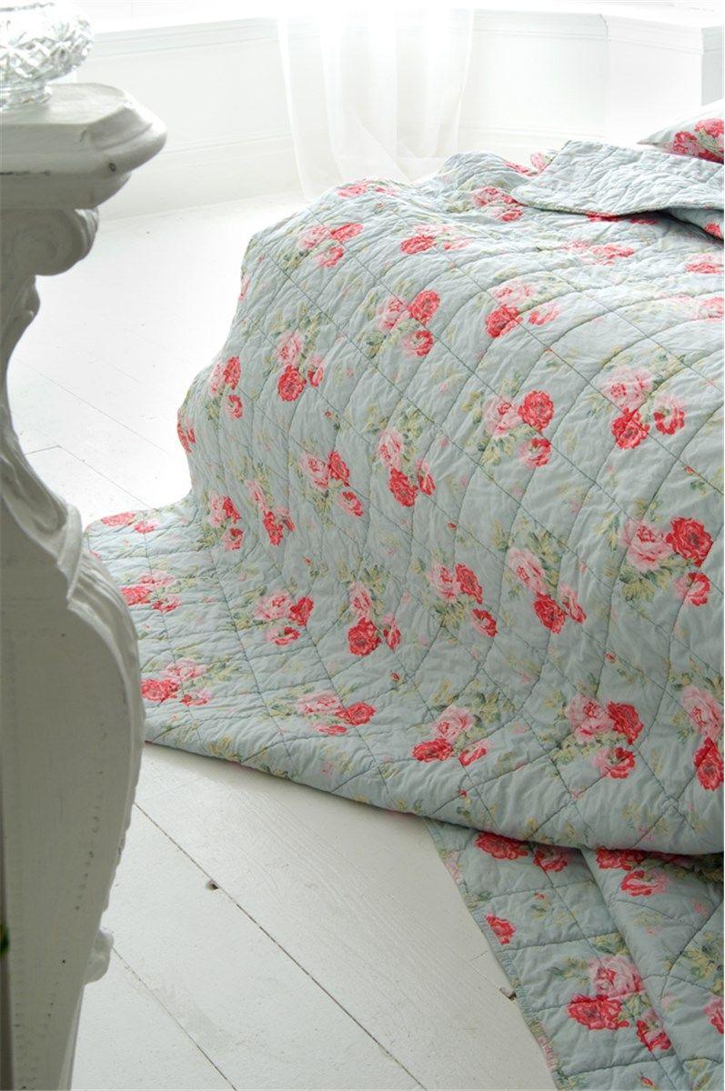 Cath Kidston Antique Rose Bouquet Bedspread Duck Egg