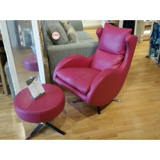 Fama Lenny Swivel Rocker Chair and Stool in Dalmata Leather Clearance