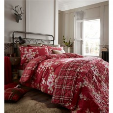 Catherine Lansfield Canterbury Brushed Check Red Pillowcase Pair