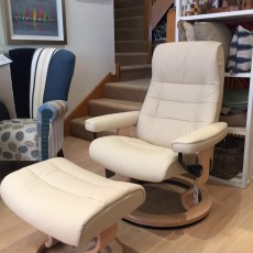 "Stressless - ""Opal"" Reclining Chair W/Footstool (Medium) Batick in Cream Leather SOLD"