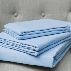 Design Port Brushed Cotton Blue Fitted Sheet
