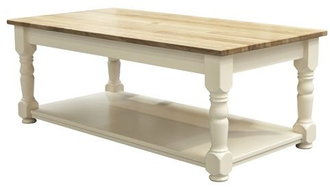 TCBC New England Living & Dining 4 ft x 2 ft Coffee Table with Shelf Farmhouse Legs