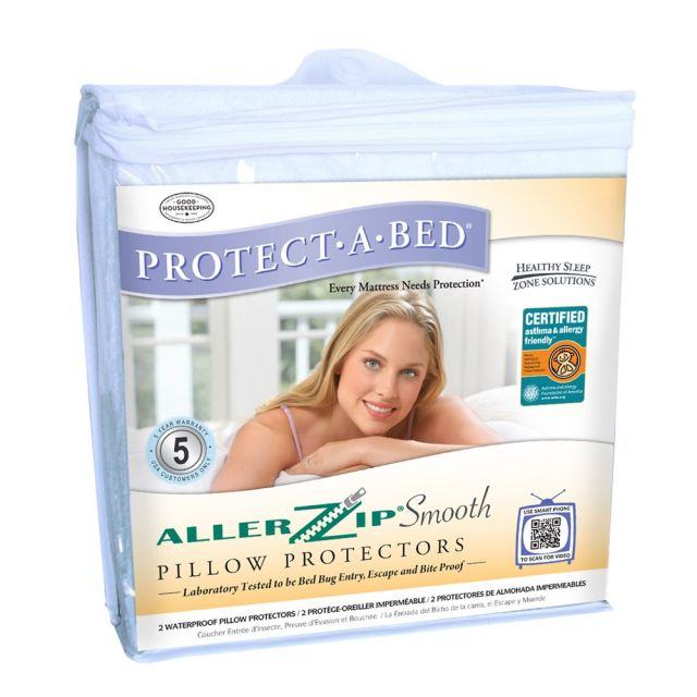Protect-A-Bed Allerzip Smooth Waterproof Pillow Protector (Pair)