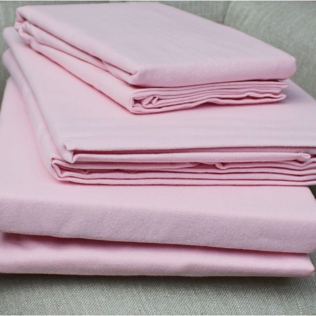 Design Port Brushed Cotton Pink Fitted Sheet