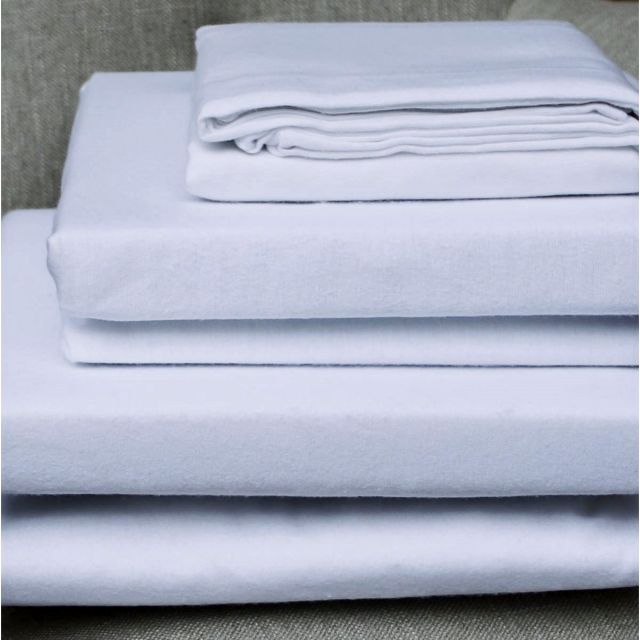 Design Port Brushed Cotton White Fitted Sheet