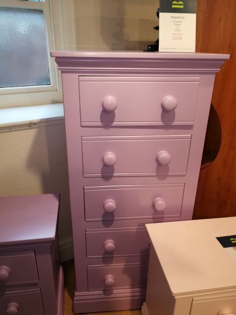 TCBC Majestical 5 Drawer Wellington Chest (Purple)