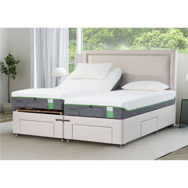 purchase cheap 751b2 99d6b Tempur Moulton Bed Collection Moulton Adjustable Drawer Divan with Foot and  Side Drawers