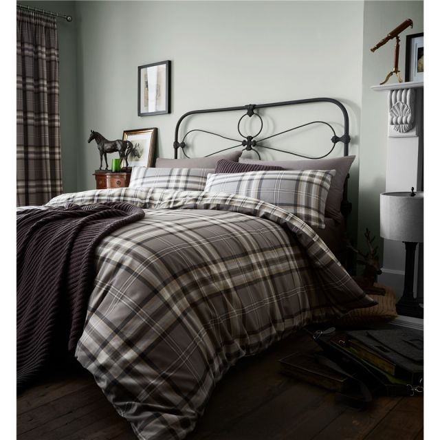 Catherine Lansfield Kelso Charcoal Duvet Set