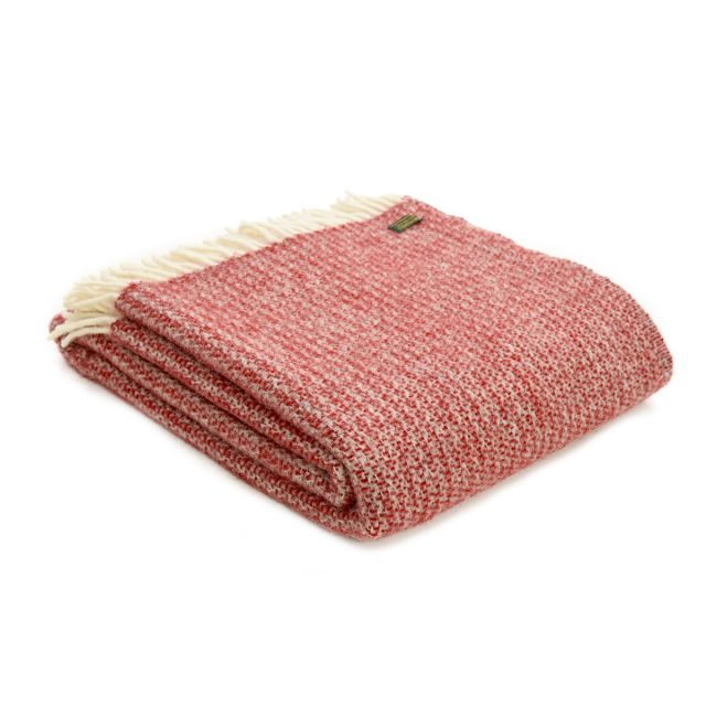 Tweedmill Pure New Wool Illusion Throw Red & Silver