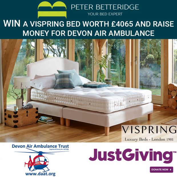 Win a Vispring Bed and Raise Money for Devon Air Ambulance