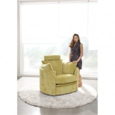 Fama Moon Swivel and Rocker Chair in Dalmata Leather