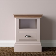 TCBC New England Bedroom Small 1 Drawer Open Shelf Bedside Chest