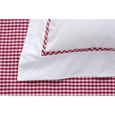 Studio Collection Gingham Red Trim Plain White Oxford Pillowcase
