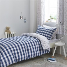Bianca Gingham Cotton Print Blue Duvet Set