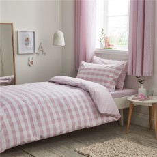 Bianca Gingham Cotton Print Blush Duvet Set