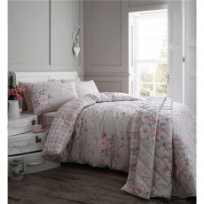 Catherine Lansfield Canterbury Brushed Check Dove Grey Duvet Set
