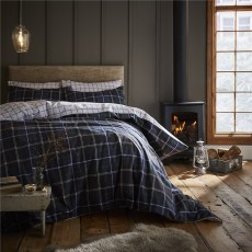Catherine Lansfield Brushed Tartan Check Navy Duvet Set