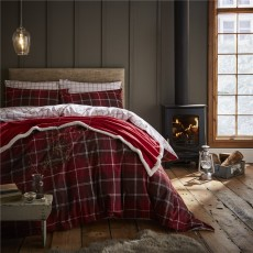 Catherine Lansfield Brushed Tartan Check Red Duvet Set
