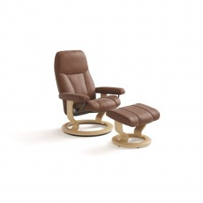 Stressless Consul Small Classic Base Chair with footstool
