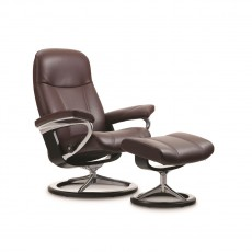 Stressless Consul Small Signature Base Chair with footstool