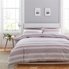 Catherine Lansfield Newquay Stripe Blush Duvet Set