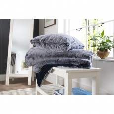 Deyongs Frosted Faux Fur Blue Throw