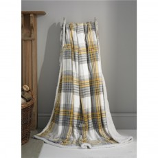 Deyongs Tattershall Mustard Check Sherpa Reverse Throw