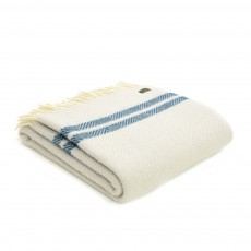 Tweedmill Pure New Wool Glacier/Ink Fishbone 2 Stripe Throw