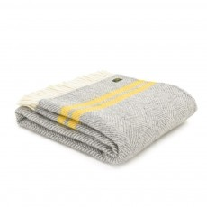Tweedmill Pure New Wool Grey/Yellow Fishbone 2 Stripe Throw