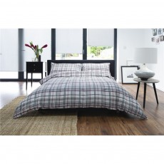 The Lyndon Company Grey & Red Check Duvet Set