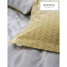 Bianca Ziggurat Grey Ochre Oxford Pillowcase