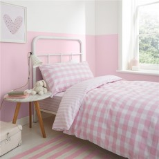 Bianca Check and Stripe Pink Duvet Set