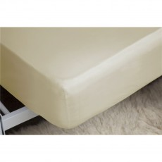 Belledorm 200TC Cotton/Polyester Cream Fitted Sheet 38cm Box