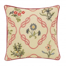 Morris & Co Strawberry Thief Crimson Kelscott Trellis Cushion