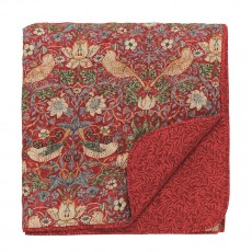 Morris & Co Strawberry Thief Crimson Quilted Throw