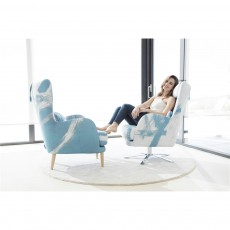 Fama Kylian Armchair and Footstool with Wooden Legs