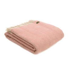 Tweedmill Pure New Wool Herringbone Throw Dusky Pink & Pearl