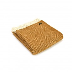Tweedmill Pure New Wool Fishbone Throw English Mustard
