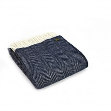 Tweedmill Pure New Wool Fishbone Throw Navy