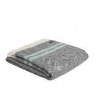 Tweedmill Pure New Wool Fishbone 2 Stripe Throw Slate & Ocean