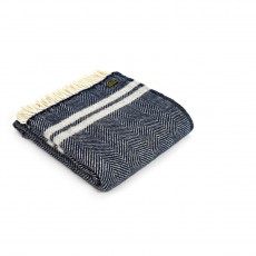 Tweedmill Pure New Wool Fishbone 2 Stripe Throw Navy & Silver Grey