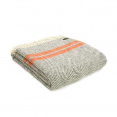 Tweedmill Pure New Wool Fishbone 2 Stripe Throw Grey & Pumpkin