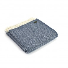 Tweedmill Pure New Wool Illusion Throw Blue Slate