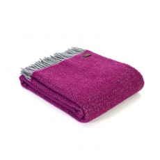 Tweedmill Pure New Wool Illusion Throw Silver & Grape