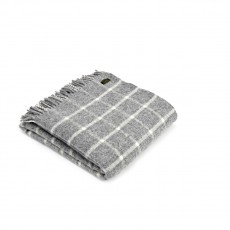 Tweedmill Pure New Wool Checkered Check Throw Grey